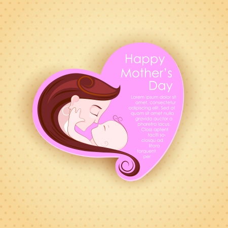 child s: illustration of mother embracing child in Mother s Day Card Stock Photo