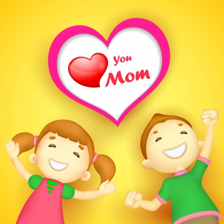 illustration of kids wishing Love you Mom Stock Vector - 18960260