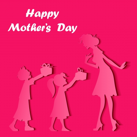 illustration of kids giving gift to mother on Mother s Day Vector
