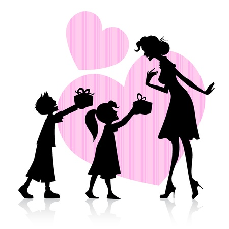 mom daughter: illustration of kids giving gift to mother on Mother s Day Illustration