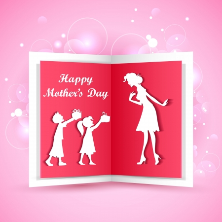 mothers day: illustration of kids giving gift to mother on Mother s Day Illustration