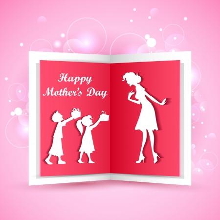ilustración de los niños dando de regalo a la madre en el Día de la Madre s Ilustración de vector