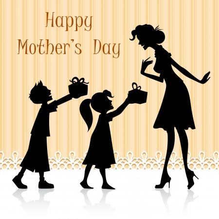 madre hijo: ilustraci�n de los ni�os dando de regalo a mam� en el D�a de la Madre s Vectores
