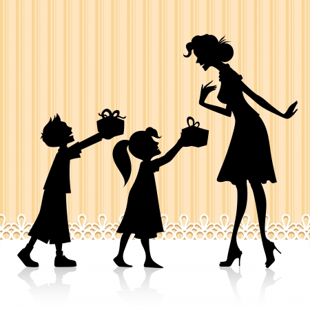 mothers day: illustration of kids giving gift to mother on Mother s Day Stock Photo