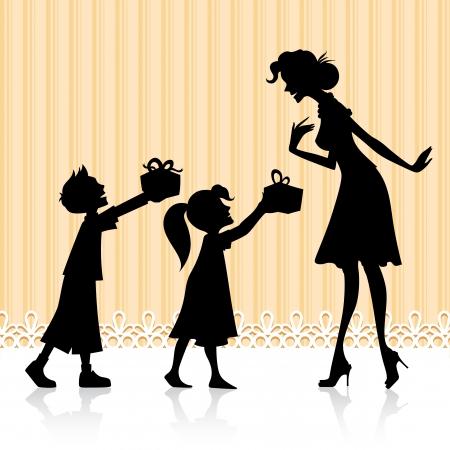 """dzień matki: Ilustracja dzieci dajÄ…c prezent dla matki na DzieÅ"""" Matki"""