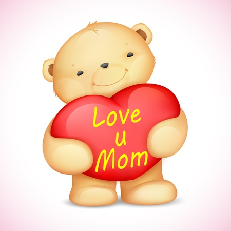 mothering: illustration of cute teddy bear holding heart