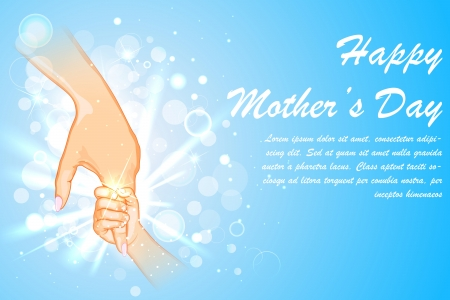 love mom: illustration of mother holding hand of child on Mother s Day