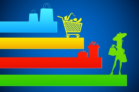 consumerism: illustration of colorful shopping background for sale promotion