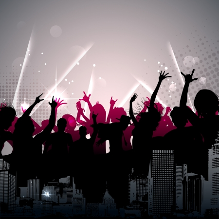 nightclub party: illustration of cheering crowd on sparkling musical background