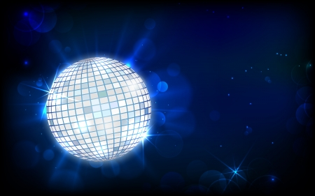 discoball: illustration of glittery disco ball on abstract background