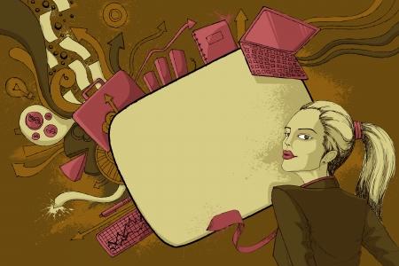 businesslady: illustration of modern woman in formal dressup Illustration