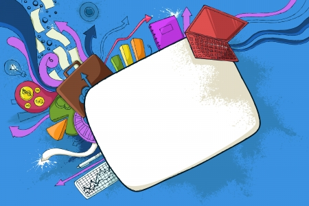 illustration of office background in doddle style illustration