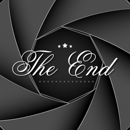 the end: illustration of The End screen on aperature shutter backdrop