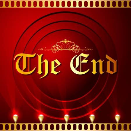 final: illustration of The End screen with film strip background Stock Photo