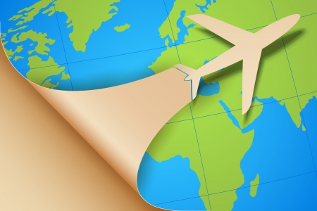 taking off: ilustraci�n del avi�n que despegue en el mapa Tierra