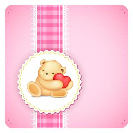 animal frame: illustration of cute teddy bear holding heart