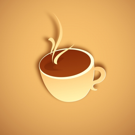 illustration of cup of hot coffee cup in paper cut Stock Vector - 19095623