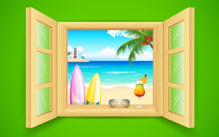 window view: illustration of sea beach view from window Illustration