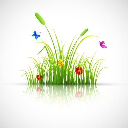 grass blade: illustration of green grass with flower and butterfly