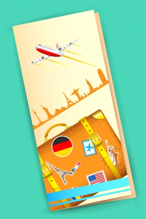 trip travel: illustration of travel brochure with luggage and airplane