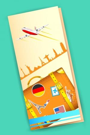 ilustraci�n del folleto de viaje con el equipaje y el avi�n