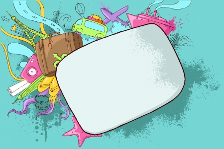 packing suitcase: illustrazione del viaggio scarabocchio su sfondo astratto grungy