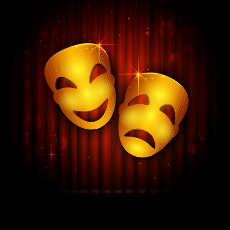 tragedy mask: illustration of entertainment mask on stage curtain backdrop