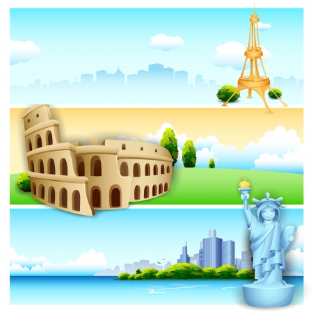 illustration of of travel banner with world famous monument