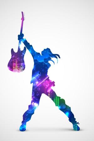 bailarines silueta: ilustración de estrella de rock con guitarfor diseño musical Vectores
