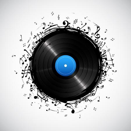 illustratie van muziek nota van disc voor muzikale achtergrond