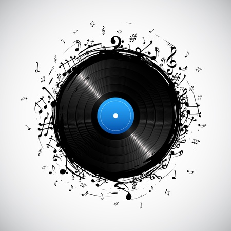 record: illustration of music note from disc for musical background
