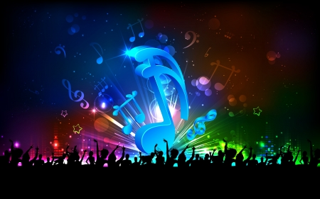 disco symbol: illustration of abstract musical note for party background