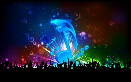 concierto de rock: ilustración de la nota musical abstracta para fondo de fiesta