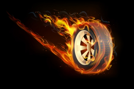 burn: illustration of fire flame in tyre showing speed Illustration