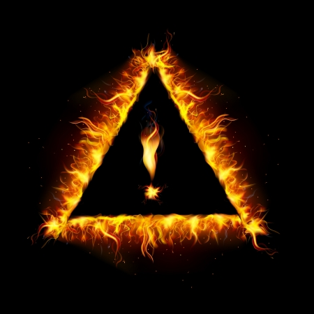 illustration of danger sign made of fire flame Vector