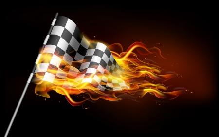 illustration de flamme de feu dans le drapeau de course