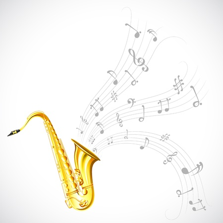 jazz musician: illustration of wavy music tune from saxophone