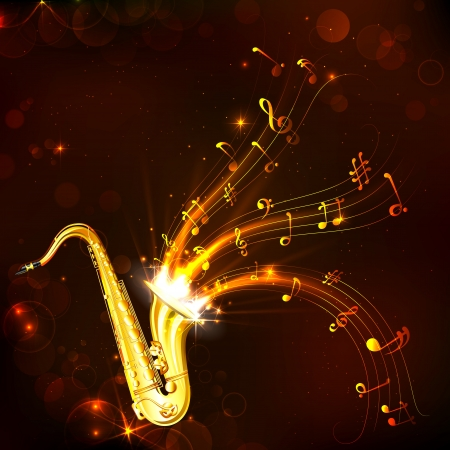 jazz: illustration of wavy music tune from saxophone