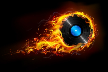 illustration of disc in fire flame for sizzling music background Vector