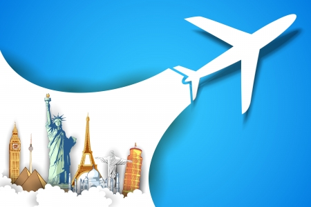 paper airplane: illustration of airplane flying in travel background with monument