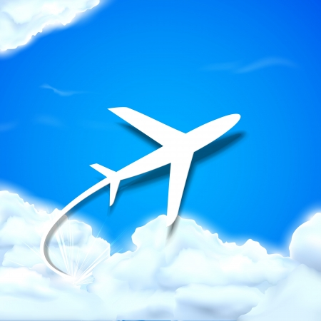 aircraft take off: illustration of airplane flying in clouds