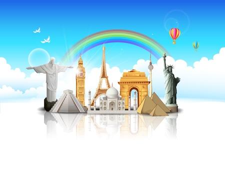 famous: 插圖世界著名的紀念碑在Cloudscape的旅行概念