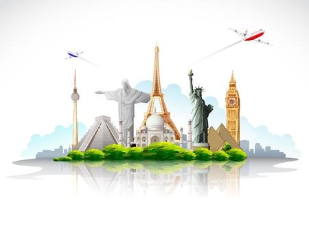 유명한: 비행기와 세계적으로 유명한 기념물 주위에 여행의 그림 일러스트