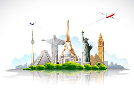 wonders: illustration of travel around the world famous monument with airplane