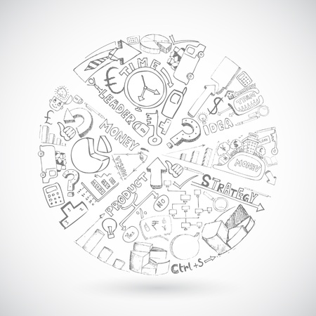 wykres kołowy: Ilustracja szkic wykresu kołowego z biznesu doodle