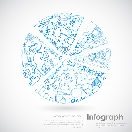 illustration of sketch of pie chart with business doodle Stock Illustration - 19694402