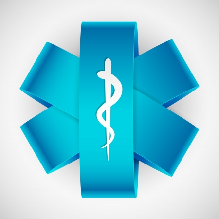 illustration of paper medical symbol with serpent and stick Vector