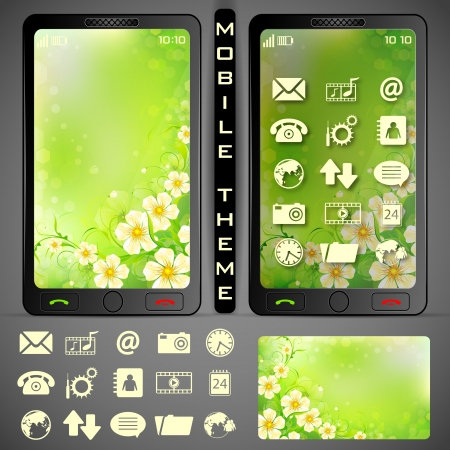 illustration of mobile phone theme with colorful background and application button illustration