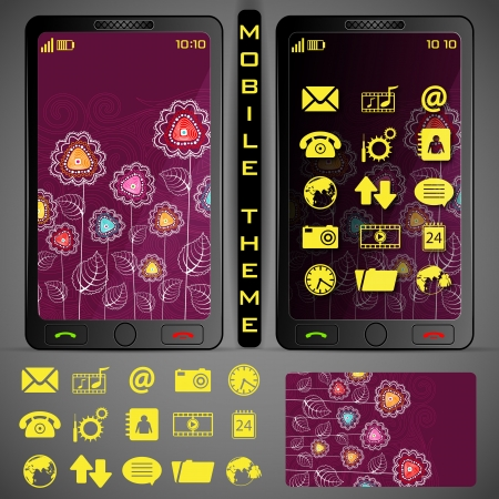 application button: illustration of mobile phone theme with colorful background and application button Illustration