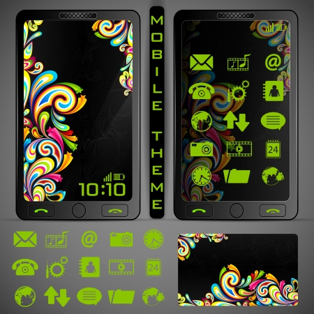 illustration of mobile phone theme with colorful background and application button Stock Vector - 19694504